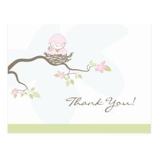 Pink Baby Bird Thank You Postcard