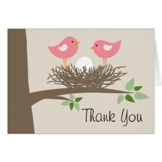 Pink Baby Bird's Nest Couple | Thank You Card