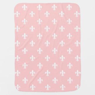 Pink baby blanket with fleur de lis pattern