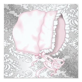 Pink Baby Bonnett Damask Baby Girl Shower Card