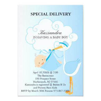 Pink Baby Boy Stork Baby Shower Invitation