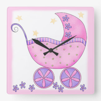 Pink Baby Buggy Carriage Customized Square Wall Clock