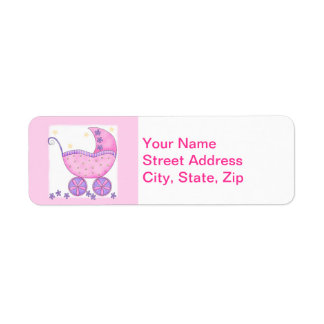 Pink Baby Buggy Carriage Shower Customized Return Address Label