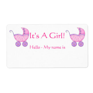 Pink Baby Buggy It's A Girl Shower Name Tag Shipping Label
