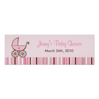 Pink Baby Buggy Personalized Baby Shower Banner Print