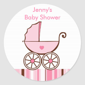Pink Baby Buggy Shower Stickers Envelope Seals