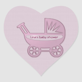 pink baby buggy heart sticker