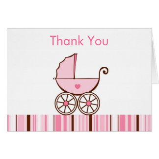 Pink Baby Buggy Thank You Note Cards