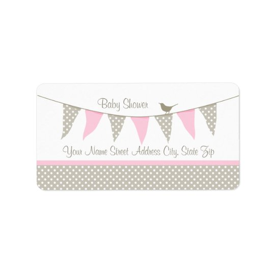 Pink Baby Bunting Address Label