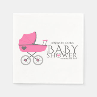 Pink Baby Carriage Girls Baby Shower Paper Serviettes