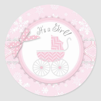 Pink Baby Carriage & Winter Snowflake Classic Round Sticker