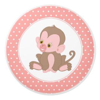 Pink Baby Chimpanzee Polka Dot Ceramic Knob