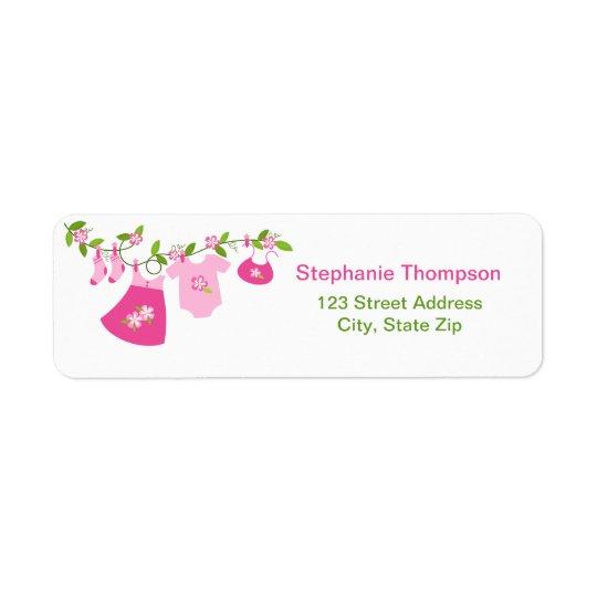 Pink Baby Clothesline Return Address Labels