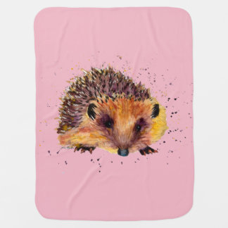 pink baby-covers with handpainted hedgehog baby blanket