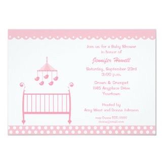 Pink Baby Crib and Mobil Baby Shower Invitation