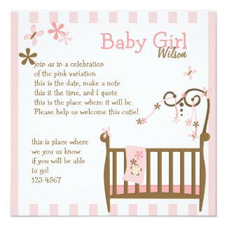 Pink Baby Crib Card