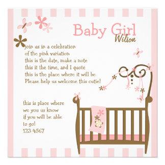 Pink Baby Crib Invitations