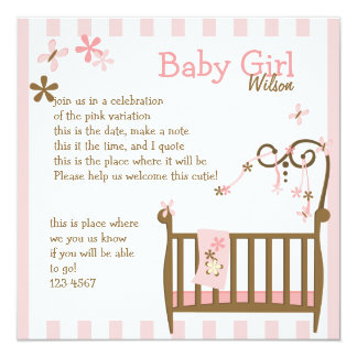 Pink Baby Crib 5.25x5.25 Square Paper Invitation Card