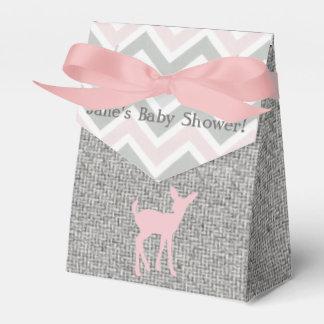 Pink Baby Deer & Grey Chevron/Burlap favor Boxes