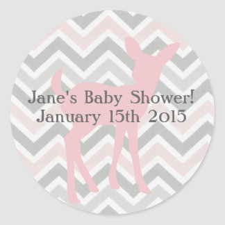 Pink Baby Deer & Pink/Gray Chevron Sticker