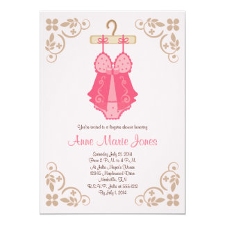 "Pink Baby Doll Lingerie Shower Party Invitations 5"" X 7"" Invitation Card"