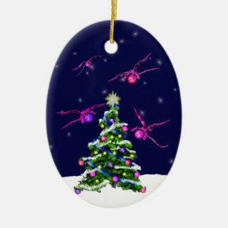 Pink Baby Dragons Encircle a Christmas Tree Ornament