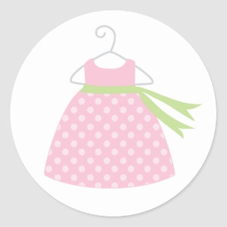 Pink Baby Dress Baby Shower Stickers