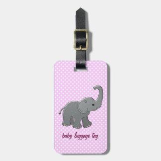 pink baby elephant bag tag