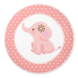 Pink Baby Elephant Polka Dot Ceramic Knob