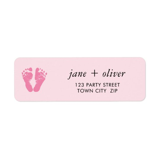 PINK BABY FEET cute foot prints Return Address Label