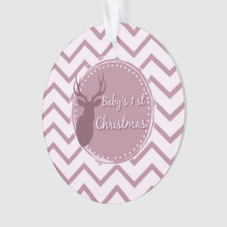 pink baby first christmas ornament