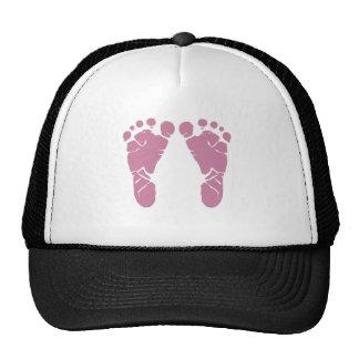 Pink baby footprints cap