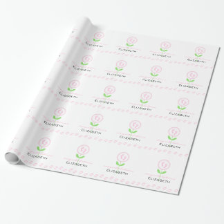 Pink Baby Footprints Flower Baby Shower Wrapping Paper