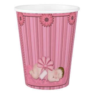 Pink Baby Girl Baby Shower Paper Cups