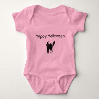 Pink Baby Girl Bodysuit Halloween Cat.