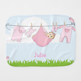 Pink Baby Girl Burp Cloth