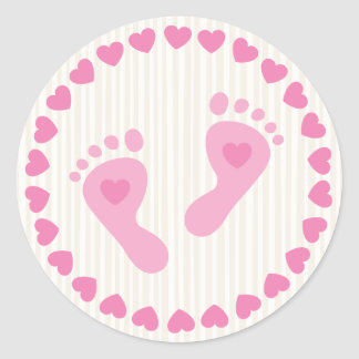 Pink baby girl feet envelope stickers