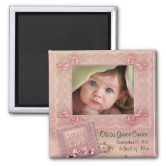 Pink Baby Girl Photo Frame Birth Magnets