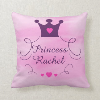 Pink Baby Girl Princess Crown Tiara Royalty Hearts Cushion