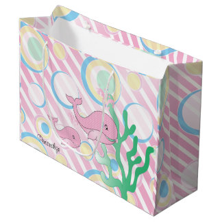 Pink Baby Girl Whale Large Gift Bag