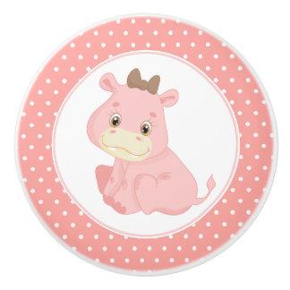 Pink Baby Hippopotamus Polka Dot Ceramic Knob