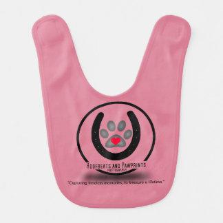 Pink Baby Hoofbeats and Pawprints Bib