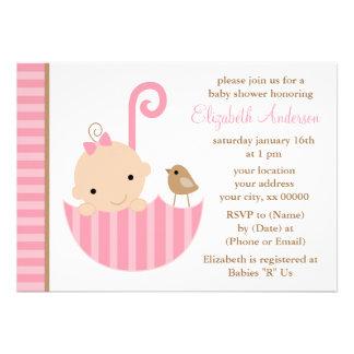 Pink Baby in Umbrella Baby Shower Invitations