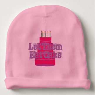"""Pink Baby Infant Hat w/""""Let Them Eat Cake"""" Baby Beanie"""