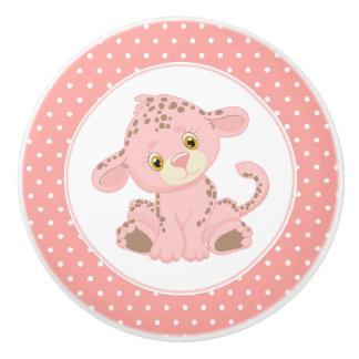 Pink Baby Leopard Polka Dot Ceramic Knob