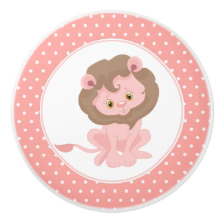 Pink Baby Lion Polka Dot Ceramic Knob