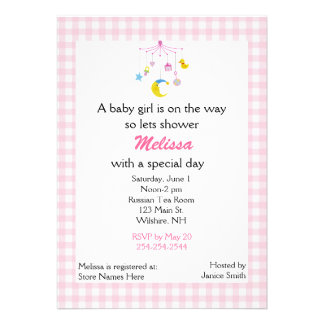 Pink Baby Mobile Baby Shower Invitation