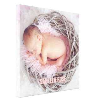 Pink Baby Name Photo Canvas Print
