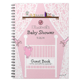Pink Baby Nursery Baby Shower Guest Book |