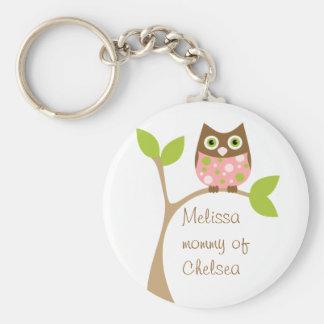 Pink Baby Owl Basic Round Button Key Ring